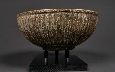 WESTERN ASIATIC STONE RIBBED BOWL ON STAND