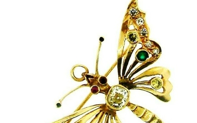 WOW 14k Yellow Gold, Diamond, Emerald & Ruby Butterfly