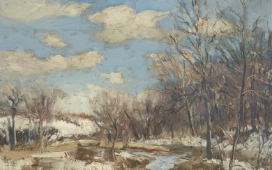 Walter Emerson Baum (American, 1884–1956) Stream in Winter Signed...