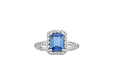 White Gold, Sapphire and Diamond Ring and Guard