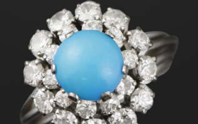 White gold ring with turquoise cabochon and diamonds...