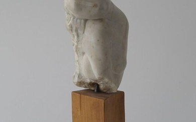 White marble sculpture on wooden base, Lady, signed 'G. Zakaraia', dated '96, h. 21 cm.
