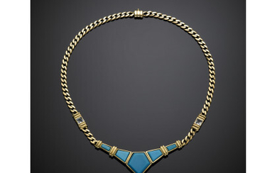 Yellow gold groumette chain necklace with reconstructed turquoise central and...
