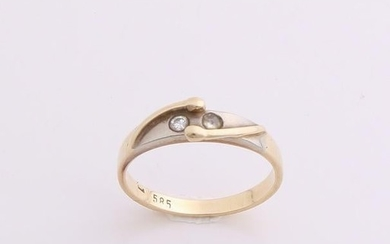 Yellow gold ring, 585/000, with zirconia. Ring with