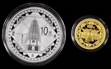 (t) CHINA. Gold and Silver Proof Set (2 Pieces), 2011. Historical Monuments of Dengfeng. GEM PROOF.
