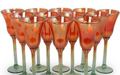 (12 Pc) Rick Strini Iridescent Wine Glasses