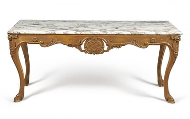 A carved giltwood and marble topped console table, in mid 18th century style, first half 20th century