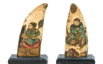 PAIR OF UNUSUAL WHALE'S TEETH WITH LACQUER DECORATION IN CHINESE MOTIFS Both teeth with scenes of Chinese figures in a landscape tha..