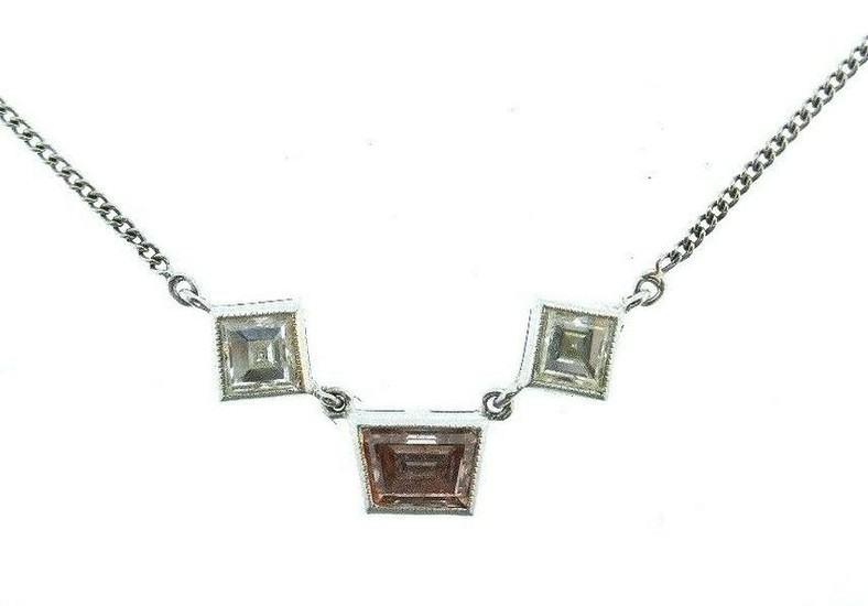 14K White Gold Chain Necklace Pendant Cognac Trapezoid