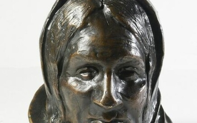 1899 Henry Farny Bronze Bust of Zuni Woman 8/10