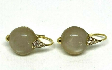 18K Yellow Gold Moon Stone Diamond Drop Earrings