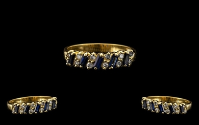 18ct Gold - Attractive Sapphire and Diamond Dress Ring, Chan...