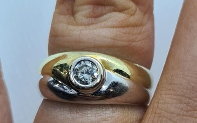18ct Two tone white and yellow gold Solitaire diamond Size N...