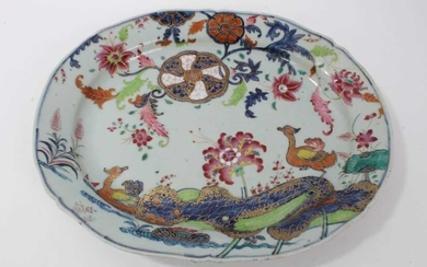 18th century Chinese tobacco leaf porcelain platter, finely decorated in famille rose enamels and underglaze blue, 40.5cm across