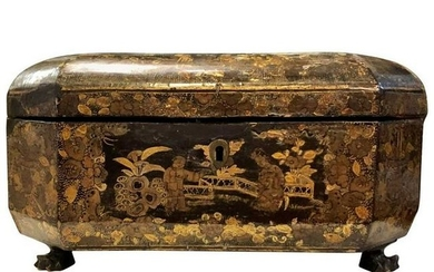 19thc English Antique Chinoiserie Lided Box