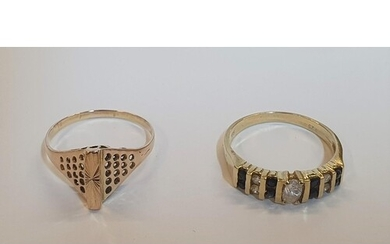 2 14ct yellow gold rings to include a Rose gold, unusual sha...
