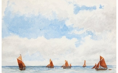27040: American School (20th Century) Sailboats on the