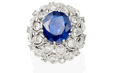 A sapphire and diamond dome ring