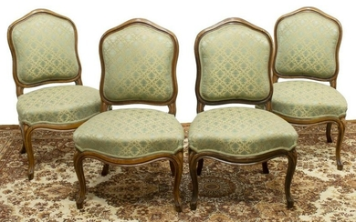 (4) LOUIS XV STYLE UPHOLSTERED WALNUT SIDE CHAIRS