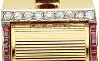 55140: Retro Swiss Lady's Diamond, Ruby, Gold Covered D