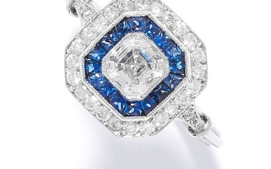 SAPPHIRE AND DIAMOND DRESS RING in 18ct white gold or