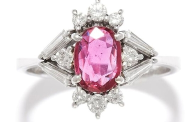 RUBY AND DIAMOND RING, H.STERN in 18ct white gold, set
