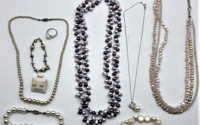 9 Assorted Pearl Necklaces, Bracelets, Earrings, Ring