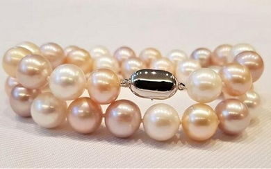 925 Silver - 11x12mm Multi Cultured Pearls - Bracelet