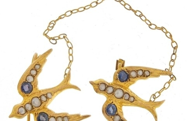 9ct gold swallow design brooch set with seed pearls and sapp...