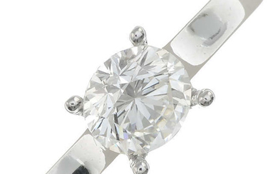 A 1.01cts brilliant-cut diamond, with 18ct gold four-claw mount.