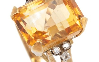 A 14CT GOLD DIAMOND AND GEMSTONE COCKTAIL RING; centring an approx. 7.5ct emerald cut fine citrine between shoulders set with 6 sing...