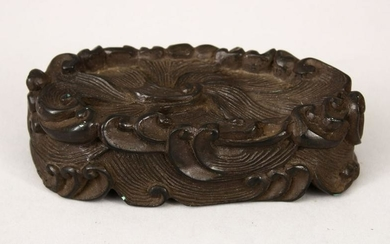 A 19TH CENTURY CHINESE CARVED HARDWOOD WAVE STAND