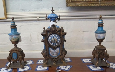 A 19th century French porcelain and gilt metal mounted clock...