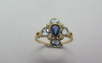 A 9ct hallmarked yellow gold sapphire, aquamarine and pearl ...