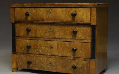 A Biedermeier walnut and ebonised secretaire chest, 19th Century, the...
