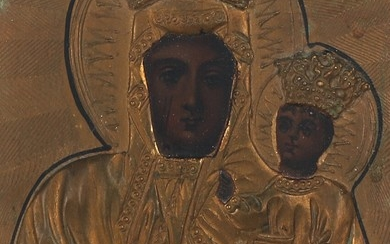 A C. 1900 Polish icon of the Mother of God. Visible size 16×12 cm.