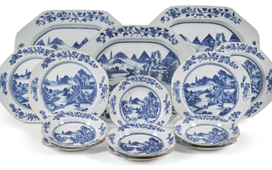 A CHINESE EXPORT PORCELAIN CRESTED BLUE AND WHITE PART DINNER SERVICE, QING DYNASTY, 18TH CENTURY