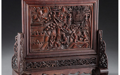 A Chinese Carved Bamboo Table Screen