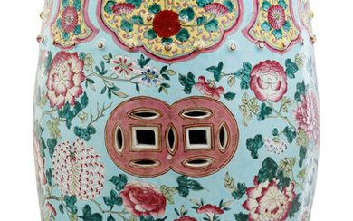 A Chinese Export Enameled Porcelain Garden Seat
