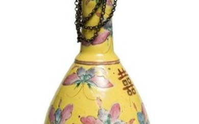 A Chinese Imperial Enamel Mounted Gilt Bronze bottle.