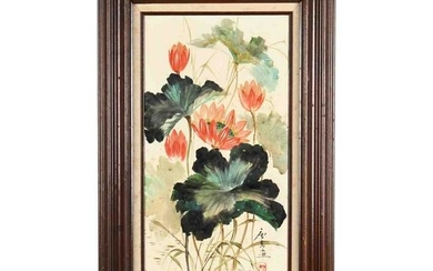 A Chinese Lotus Flower Painting