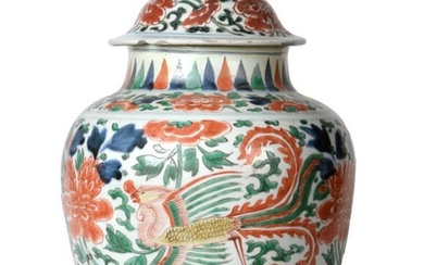 A Chinese Wucai Porcelain Baluster Jar and Cover, 17th century,...