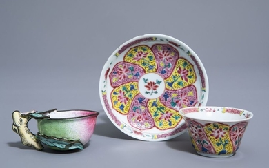 A Chinese famille rose cup and saucer and...