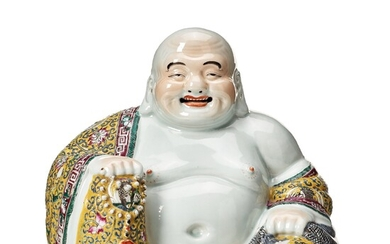 A Chinese famille rose figure of buddai, 20th Century.