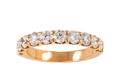 A DIAMOND HALF ETERNITY RING, the brilliant cut diamonds mou...