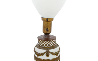 A French Gilt Metal Mounted Glass Lamp