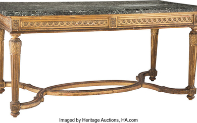 A French Louis XVI-Style Carved Giltwood Table de Milieu with a Marble Top (19th century)