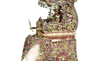 A GEM-SET SILVER-GILT DURBAR ELEPHANT HOWDAH AND CAPARISON, INDIAN,...