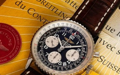 A GENTLEMAN'S 18K SOLID WHITE GOLD BREITLING
