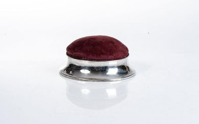 A GEORGE VI SILVER PIN CUSHION, CHARLES S. GREEN AND CO